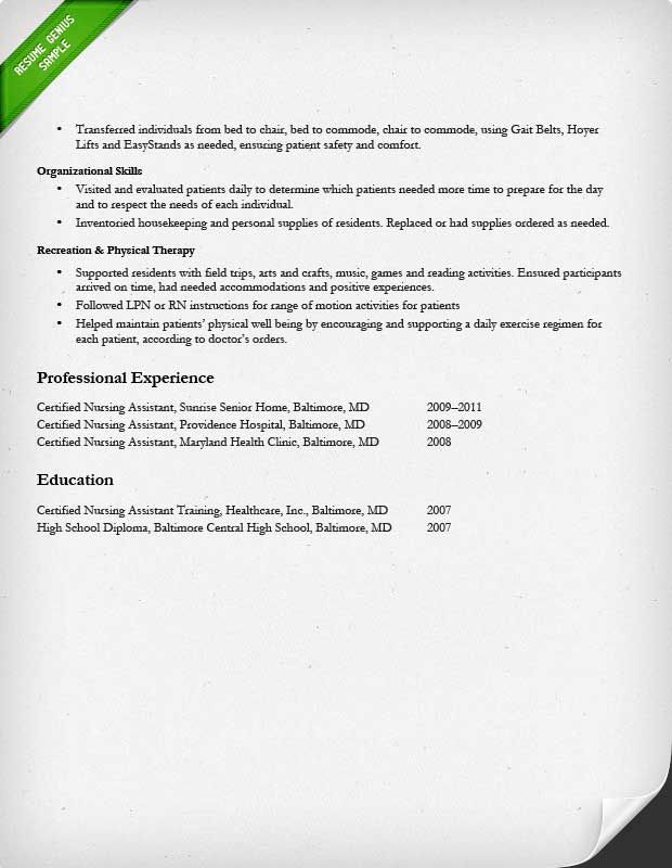 Guideline --Certified Nursing Assistant Experienced Resume Sample - nursing resume examples