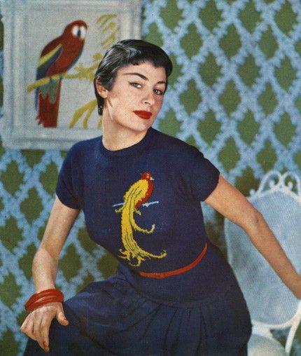 50s Exotic Bird Jumper Vintage Fair Isle Knitting by babydee ...