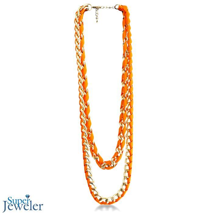 Fashion Trend Alert! - Hyper Neon Color: Double Strand Neon Orange Ribbon and Gold Tone Chain Link Necklace