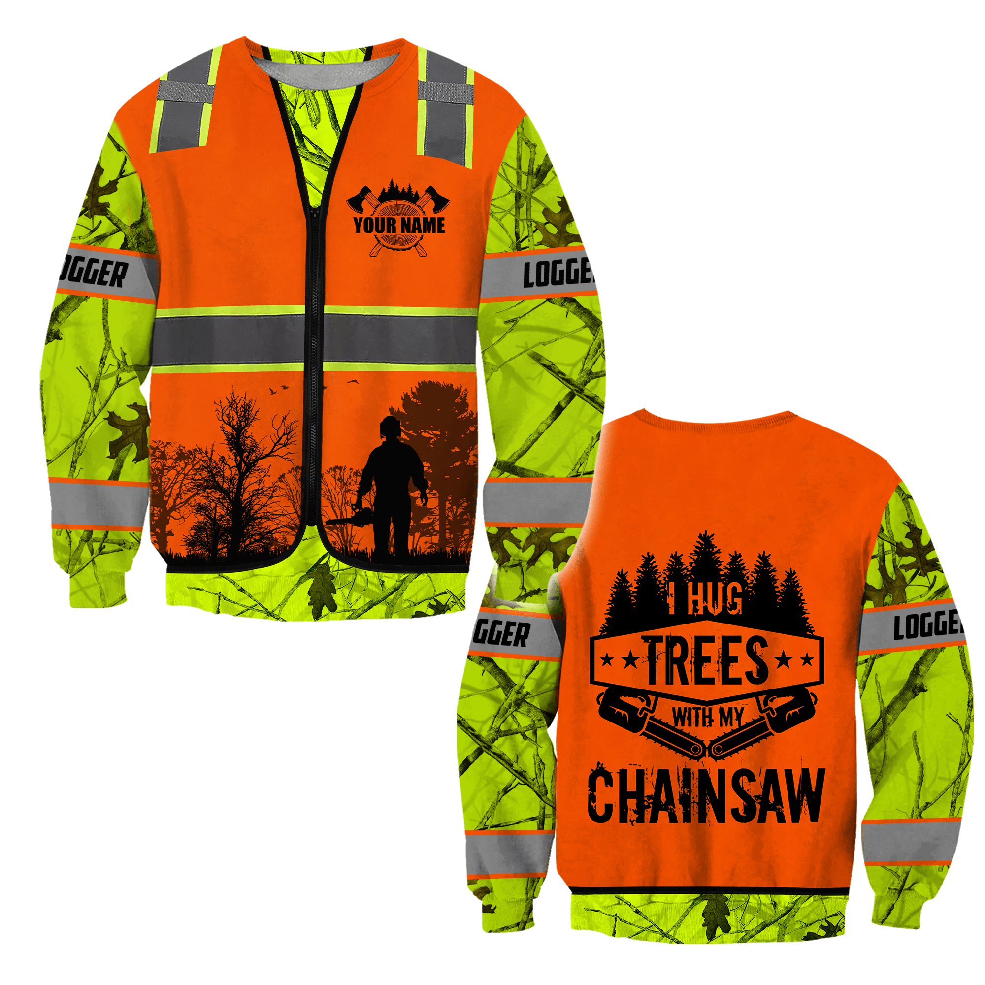 3D Chainsaw Logger Custom Name Unisex Shirts - Sweater / S