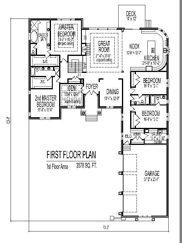 3500 Sf 4 Bedroom Single Story Home Plan 3 Bath Basement Garage 3 Car Chicago Peoria Sprin Single Level House Plans Bedroom House Plans Underground House Plans