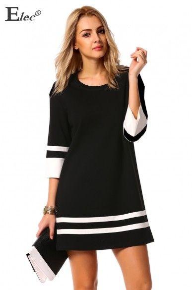 31c009ad1 Nova moda feminina magro ocasional vestidos em torno do pescoço 3 4 manga  Patchwork contraste de cor hetero clube vestido