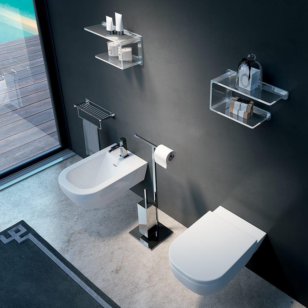 Accessori Da Bagno Portarotolo A Piantana Con Scopino Bathroom