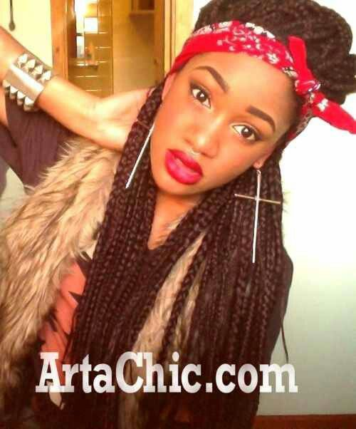 Box Braids With Earrings And Bandana Just Cute Naturally