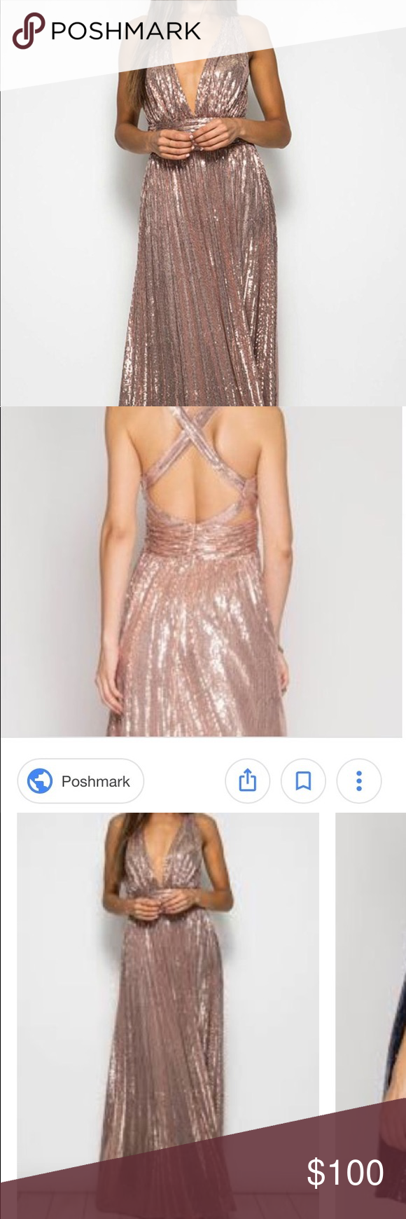 Nwt she sky rose gold sequin gown long dress nwt my posh closet