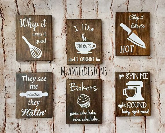 Wood Kitchen Signs Wall Art Funny Rustic Decor