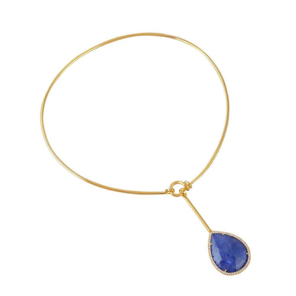 Pear shaped tanzanite 049ct pave diamond yellow gold lariat pear shaped tanzanite 049ct pave diamond yellow gold lariat necklace for women handmade mozeypictures Image collections