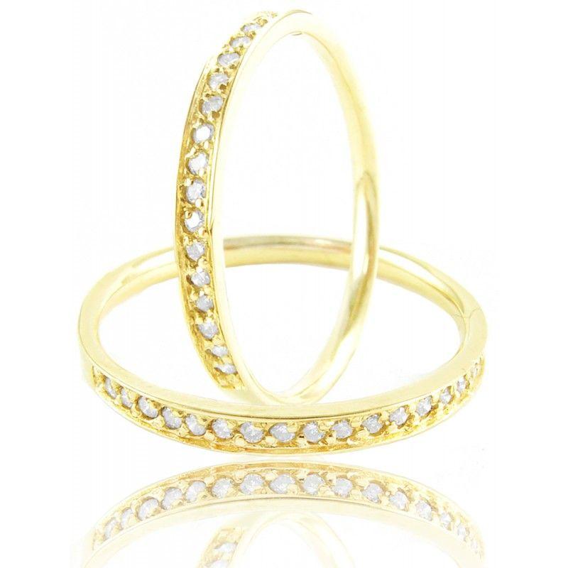 Aparador De Aliança Com Diamantes Em Ouro 18k 750