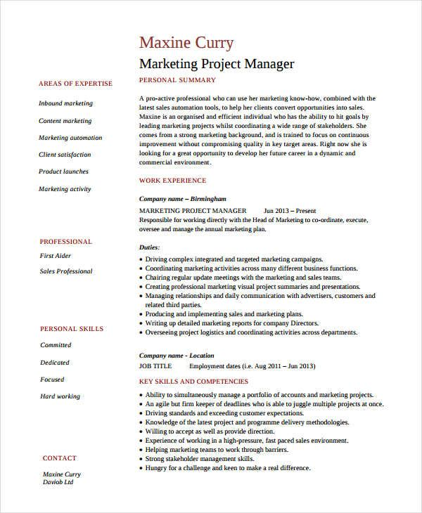 Marketing Project Manager Resume , Marketing Resume Samples for - project resume sample
