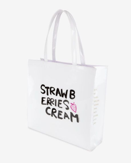 2d6cdec13 Large strawberries and cream shopper bag - White