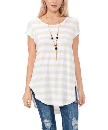 Love this Off-White & Oatmeal Stripe Stripe Round-Hem Scoop Neck Tunic on #zulily! #zulilyfinds