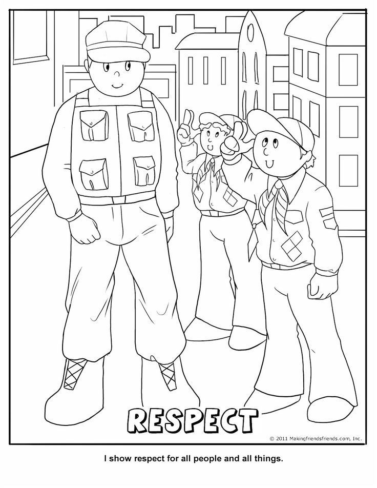 Printable Respect Coloring Page | Cub Scout Core Value - Respect ...