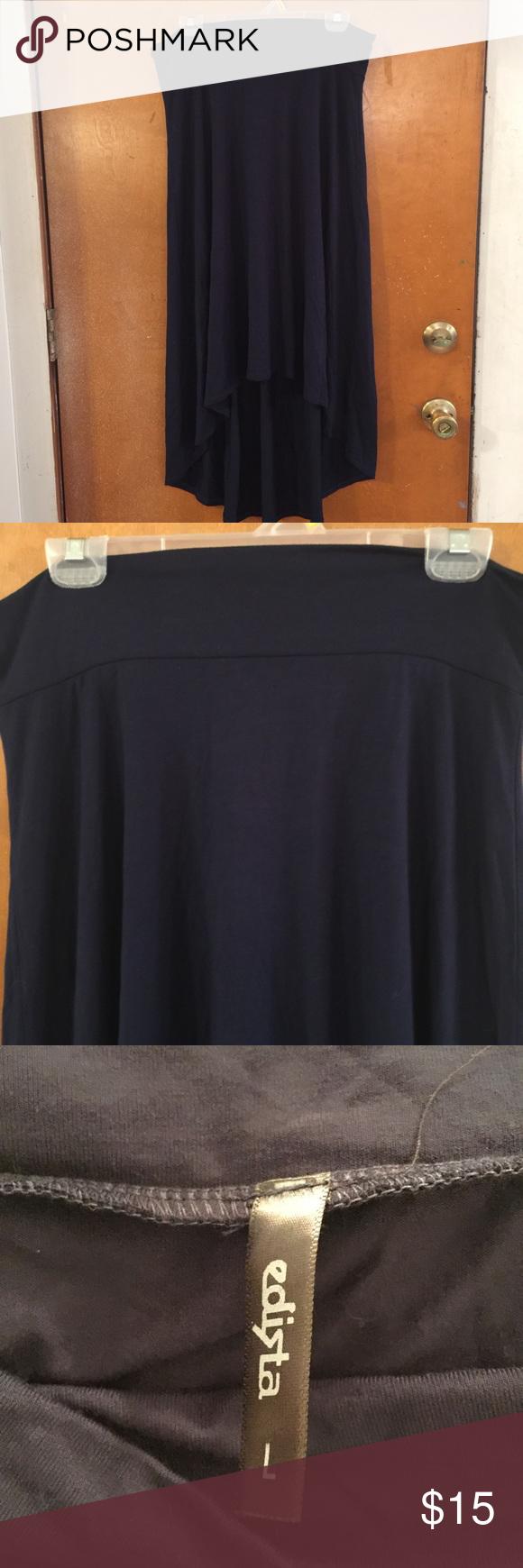 Blue hi low jersey knit skirt Blue hi low jersey knit skirt edista Skirts High Low