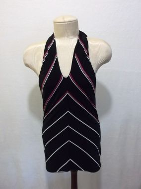 WHITE HOUSE BLACK MARKET STRIPED TIE BACK HALTER TOP SIZE SMALL PINK WHITE RED $49.99