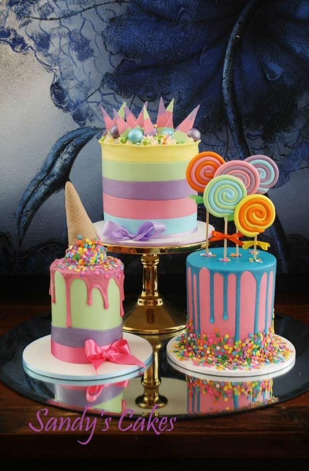 What a fun trio of cakes! … | cake-bake | Cake, Birthday cake, Candy ...