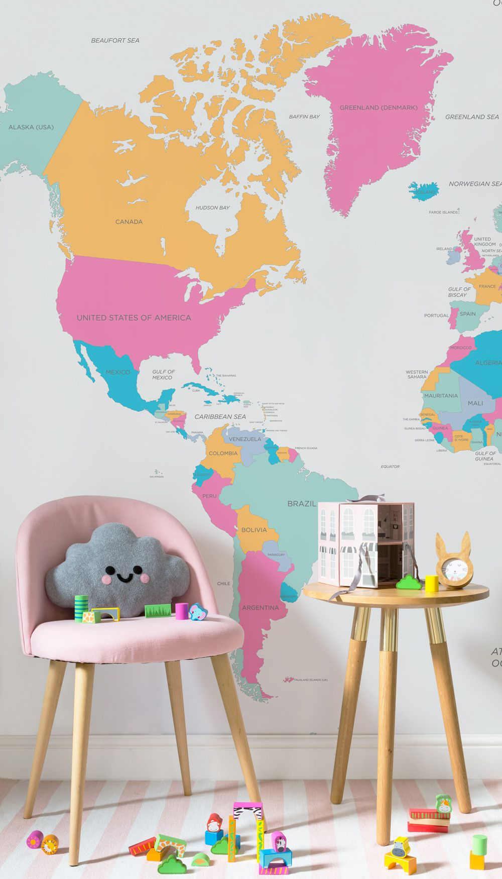 On the lookout for fun wallpaper ideas this bright and wonderful on the lookout for fun wallpaper ideas this bright and wonderful map wallpaper mural is both beautiful and educational teach your child about the world in gumiabroncs Image collections