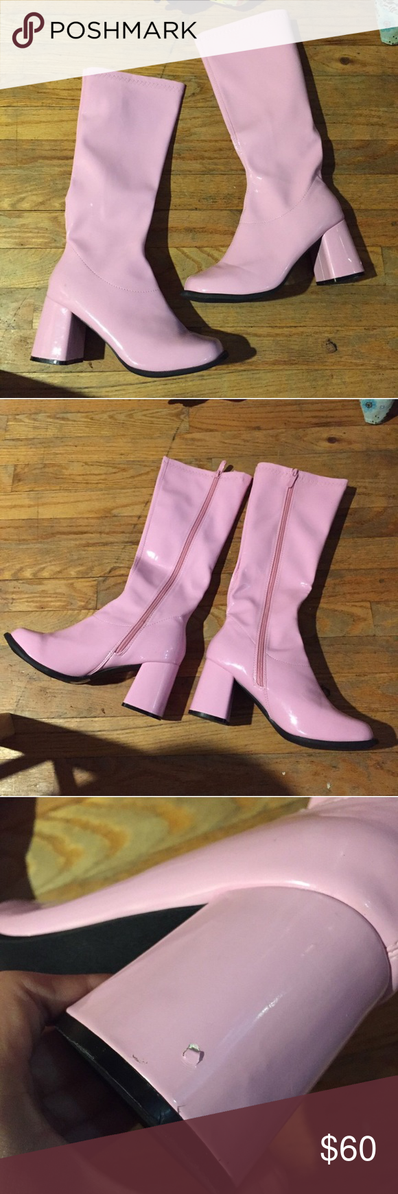 Ellie Baby Pink GoGo Boots THROWBACK