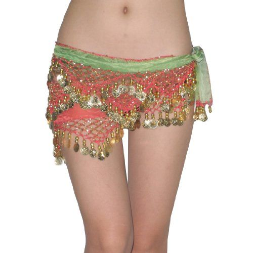 Ladies Sexy Exotic Belly Dance Hip Scarf   Costume Belt With Coins   Beads  - Green   Red b51e8a06f
