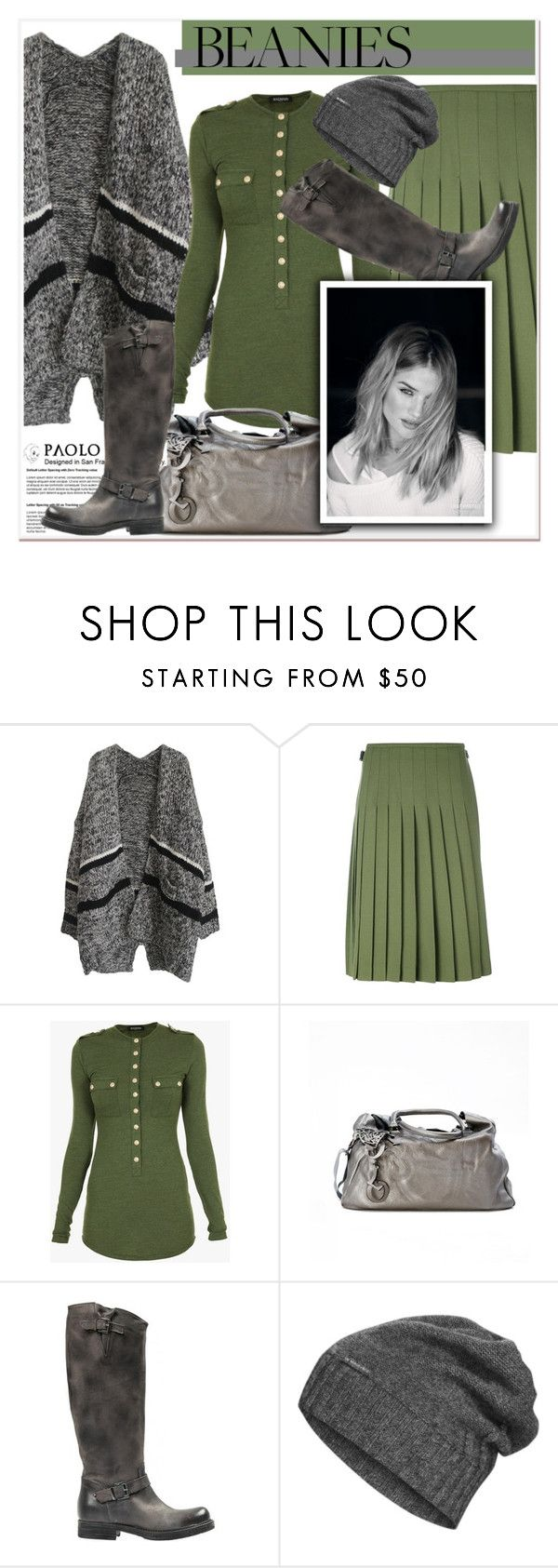"""""""Bad Hair Day: Beanies and PaoloShoes"""" by spenderellastyle ❤ liked on Polyvore featuring Le Kilt, Balmain and The North Face"""