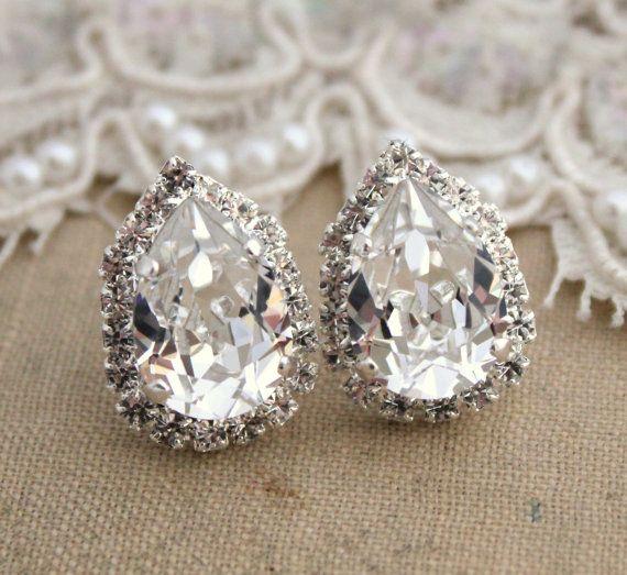 Crystal Ice Teardrop Stud Earring Brides Jewelry Bridesmaids Earrings Silver Plated Swarovski Genuine