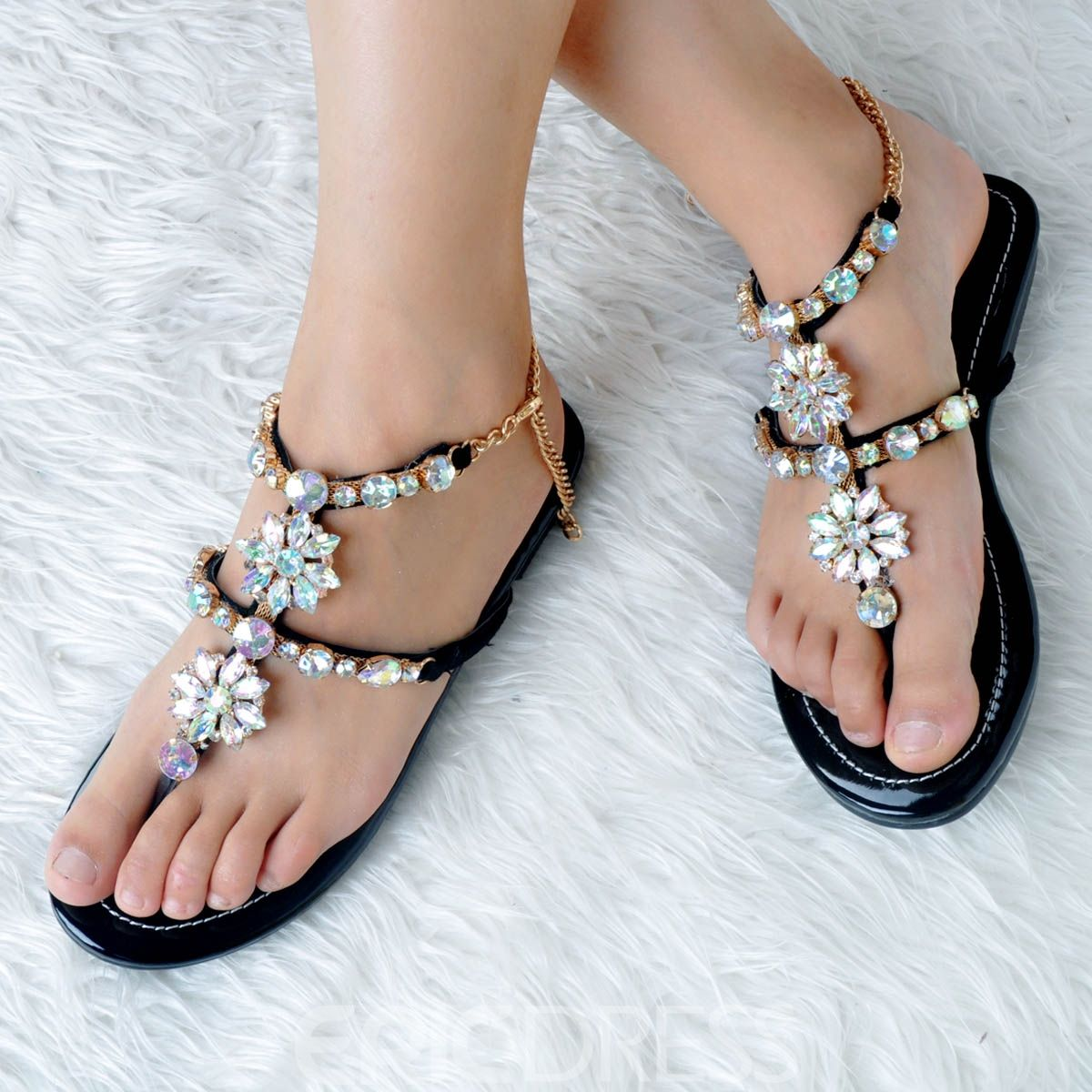 aa36f120d21 Ericdress Rhinestone Thong Strappy Flat Sandals