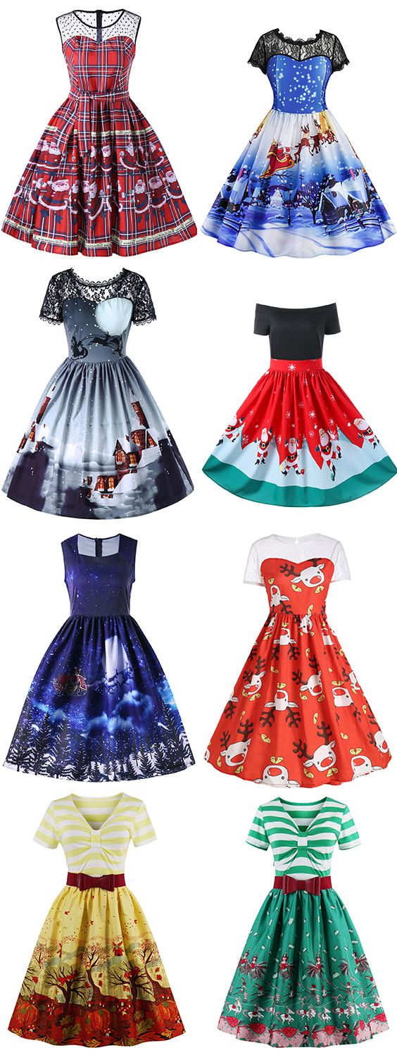 Christmas Vintage Dresses For Women Shop This Look Free Shipping Worldwide Vintage Christmas Dress Christmas Dress Women Vintage Dresses