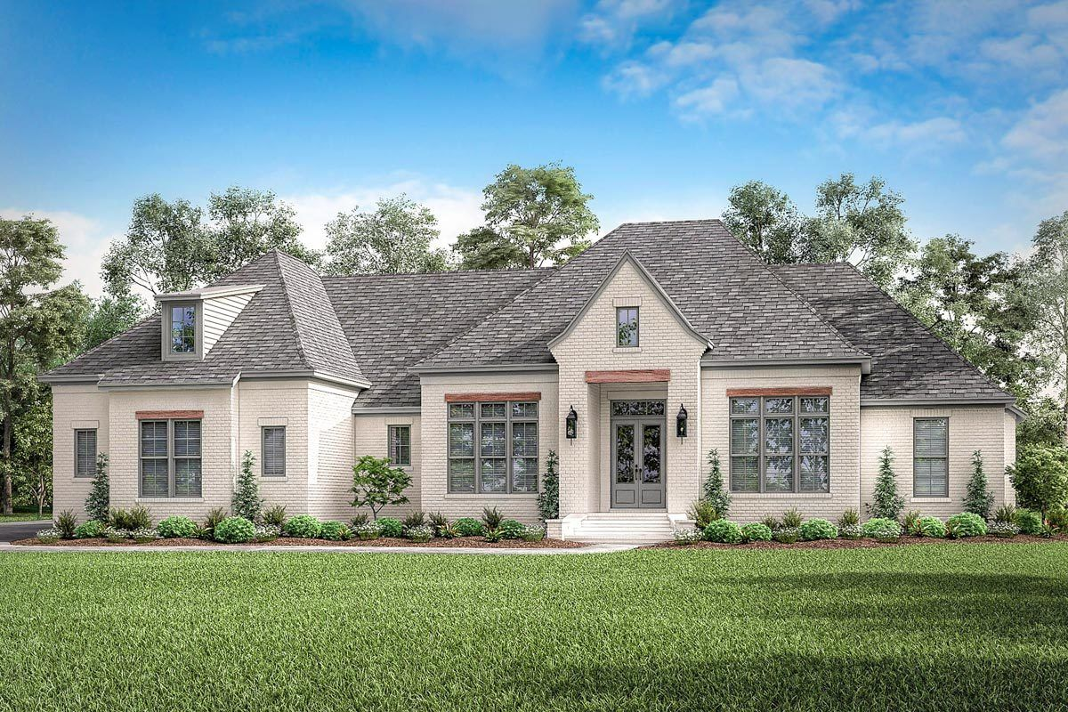 Plan 51813HZ: 4-Bed Open Concept French Country House Plan with Bonus Room Expansion