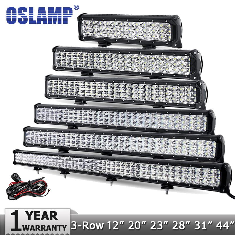 Oslamp 12 20 23 28 31 44 3 Row Led Light Bar Offroad Cree Chips Combo Led Work Light 12v 24v Truck Suv Atv 4wd Led Light Bars Led Work Light Bar