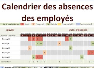 Tableau Suivi Absences Personnel Et Employés Excel Tableau