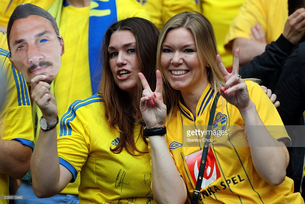 Swedish fans cheer during the UEFA EURO 2016 Group E match