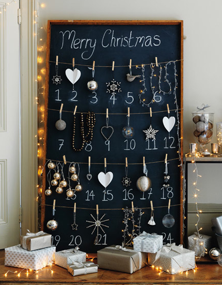Chalkboard and ornament advent calendar