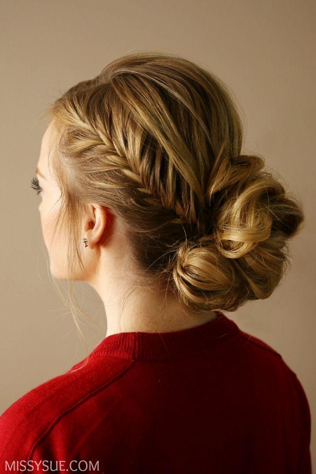 Fishtail Accent Braid Updo | Fishtail braid hairstyles ...