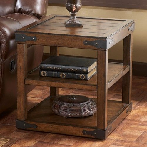Rustic End Table With Metal Brackets Tables