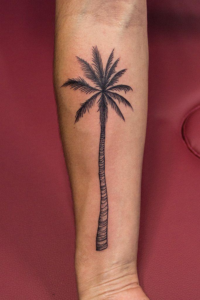 Palm, tree, ink, dots, lines, black, arm Tree tattoo arm