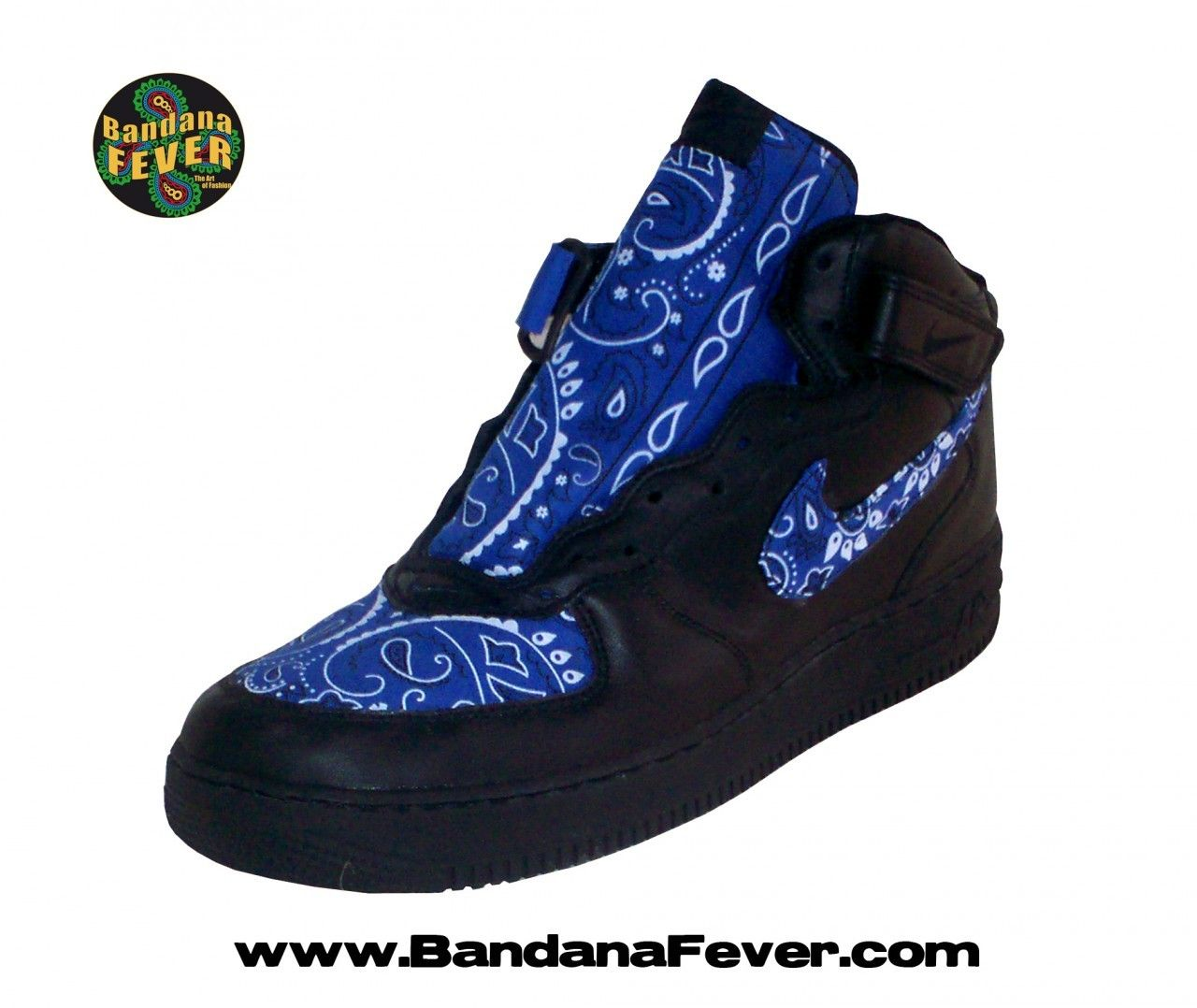 finest selection 2bf6e 0a9a3 Bandana Fever - - Bandana Fever Custom Bandana Nike Air Force 1 Mid Black  Royal Blue Bandana,  264.99 (store.bandanafeve...)