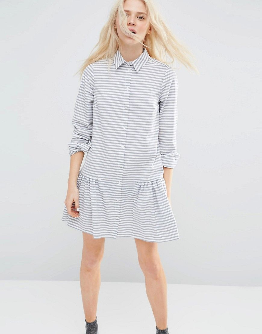 Image 1 of ASOS Shirt Dress with Frill Hem in Stripe b8de07c6d