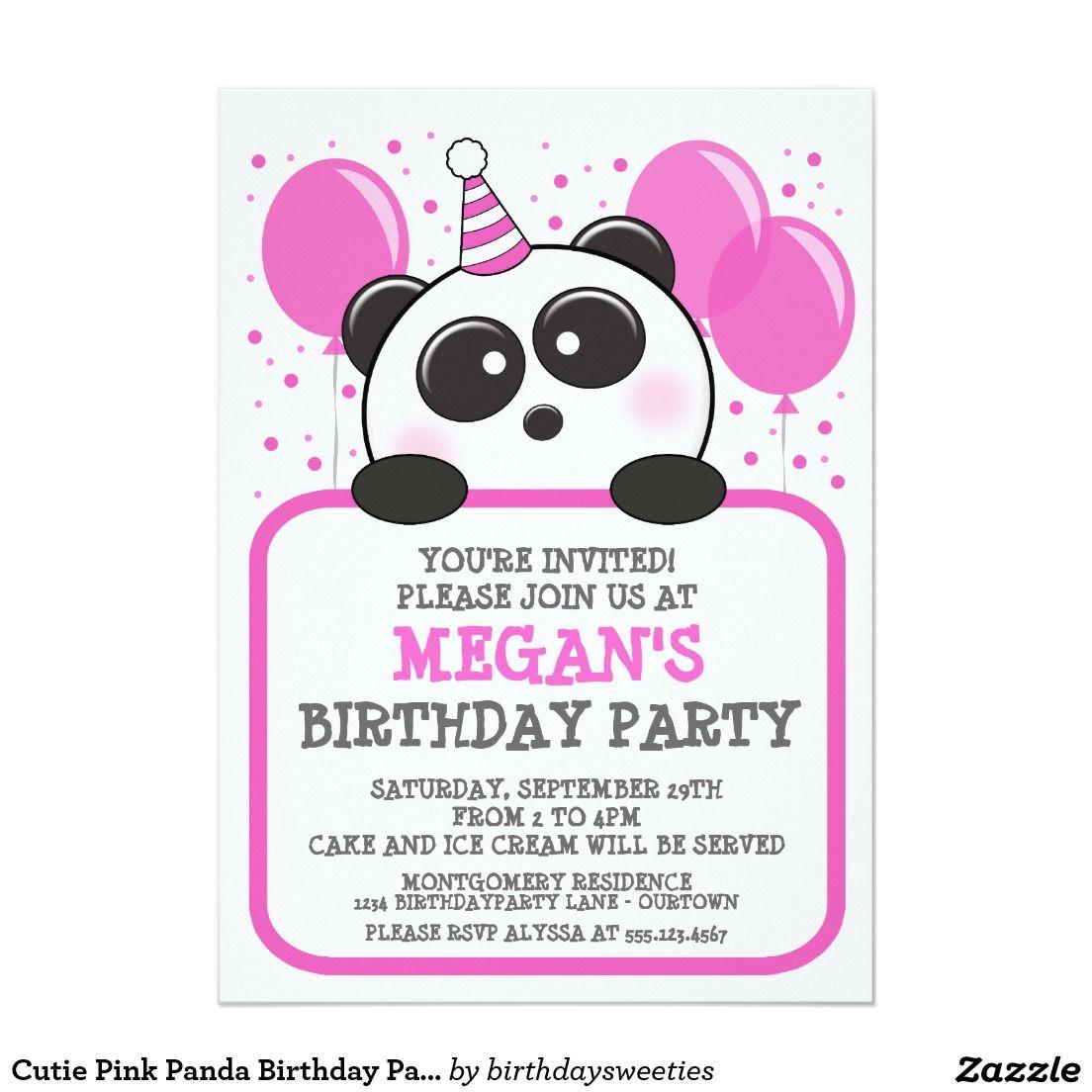 Cutie Pink Panda Birthday Party Invitations 5\