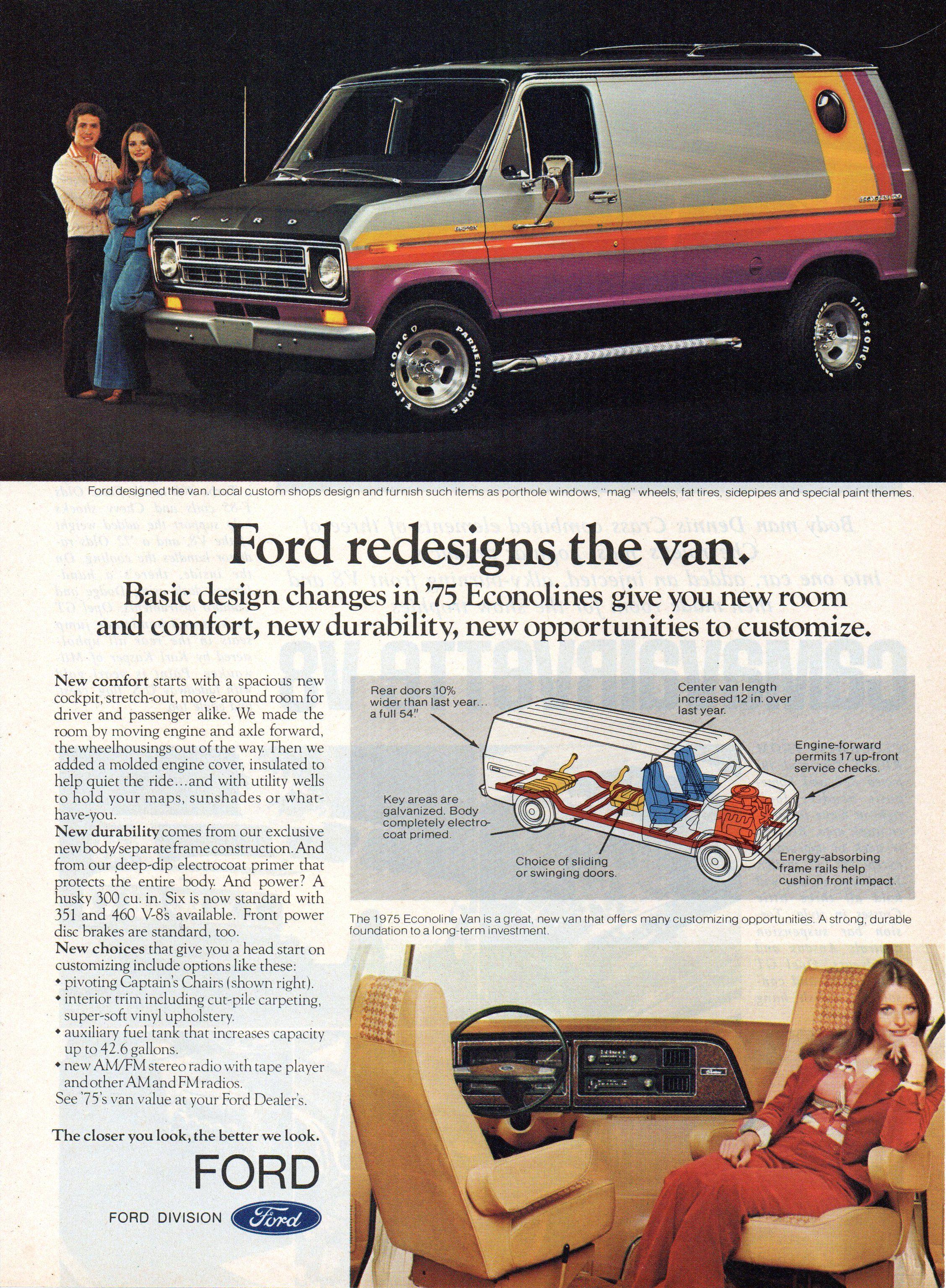 1975 ford econoline van usa original magazine advertsement in 2020 ford van ford custom van custom vans ford custom van custom vans