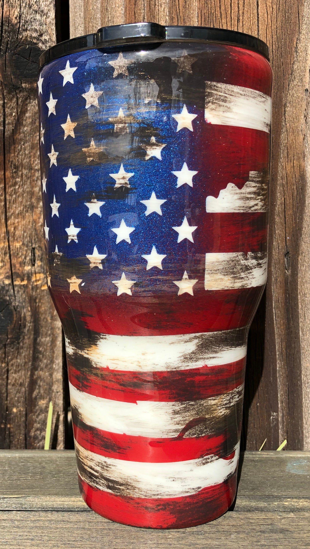 Destressed American Flag Tumbler 30oz
