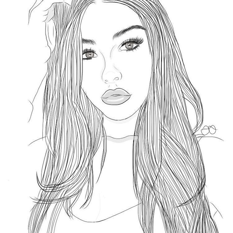 The Best Coloring Pages Of Realistic Girls Best Coloring Pages Inspiration And Ideas Tumblr Outline Hipster Drawings Girl Drawing