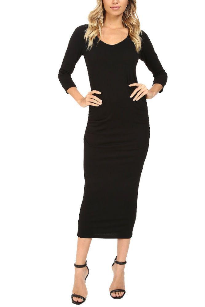 4aa2b5c2091f Michael Stars 3/4 Sleeve Ruched Midi Dress in Black | classic in ...