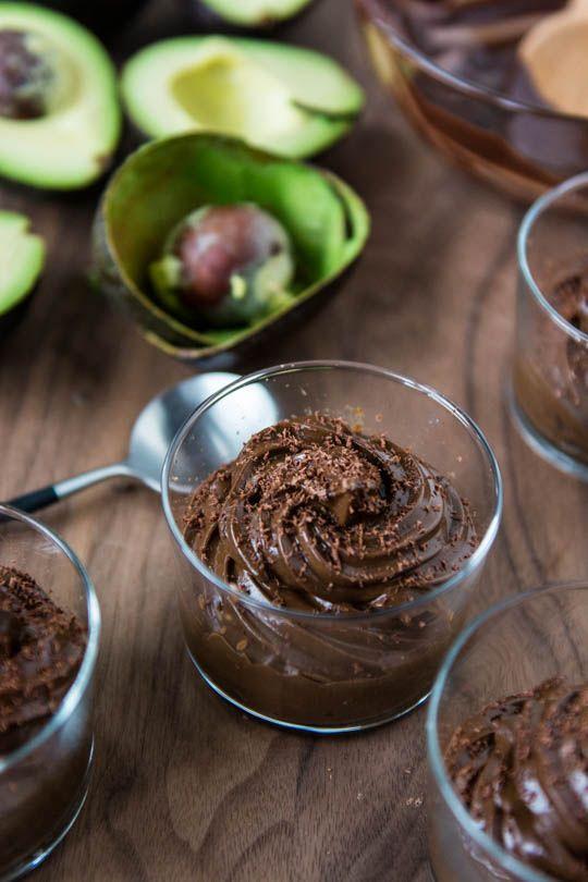 Vegan dark chocolate avocado mousse