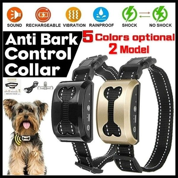 2020New!!!5 Colors Anti Bark Control Collar 7 Gears