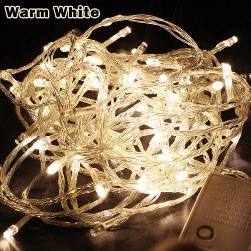WARM WHITE 100 LED Twinkle Fairy Light String 8 Modes + Tail Plug
