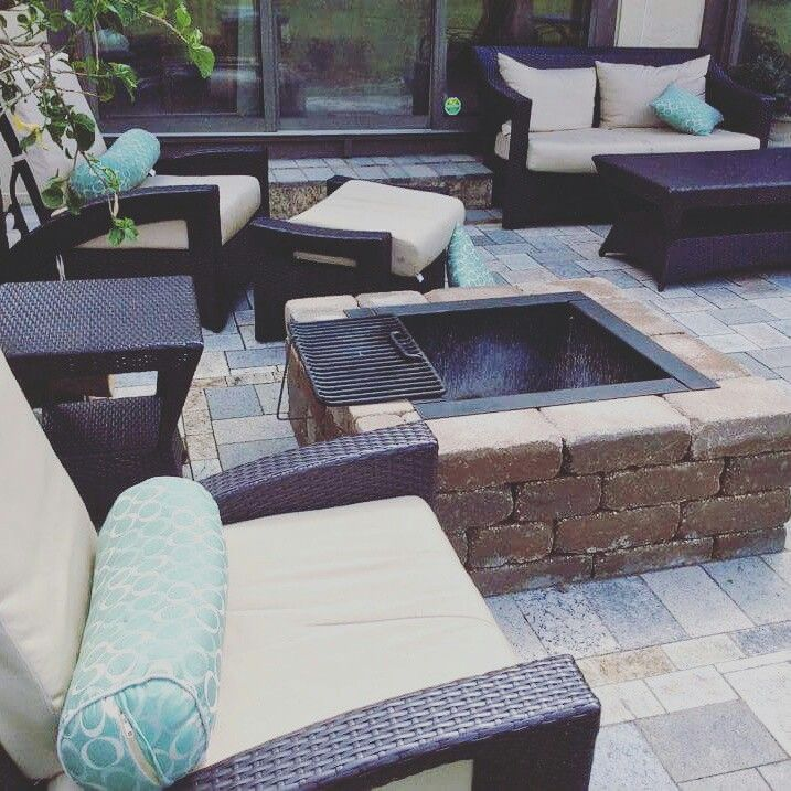 Square Fire Pit Recycled Granite Paver Patio Innovative Outdoor