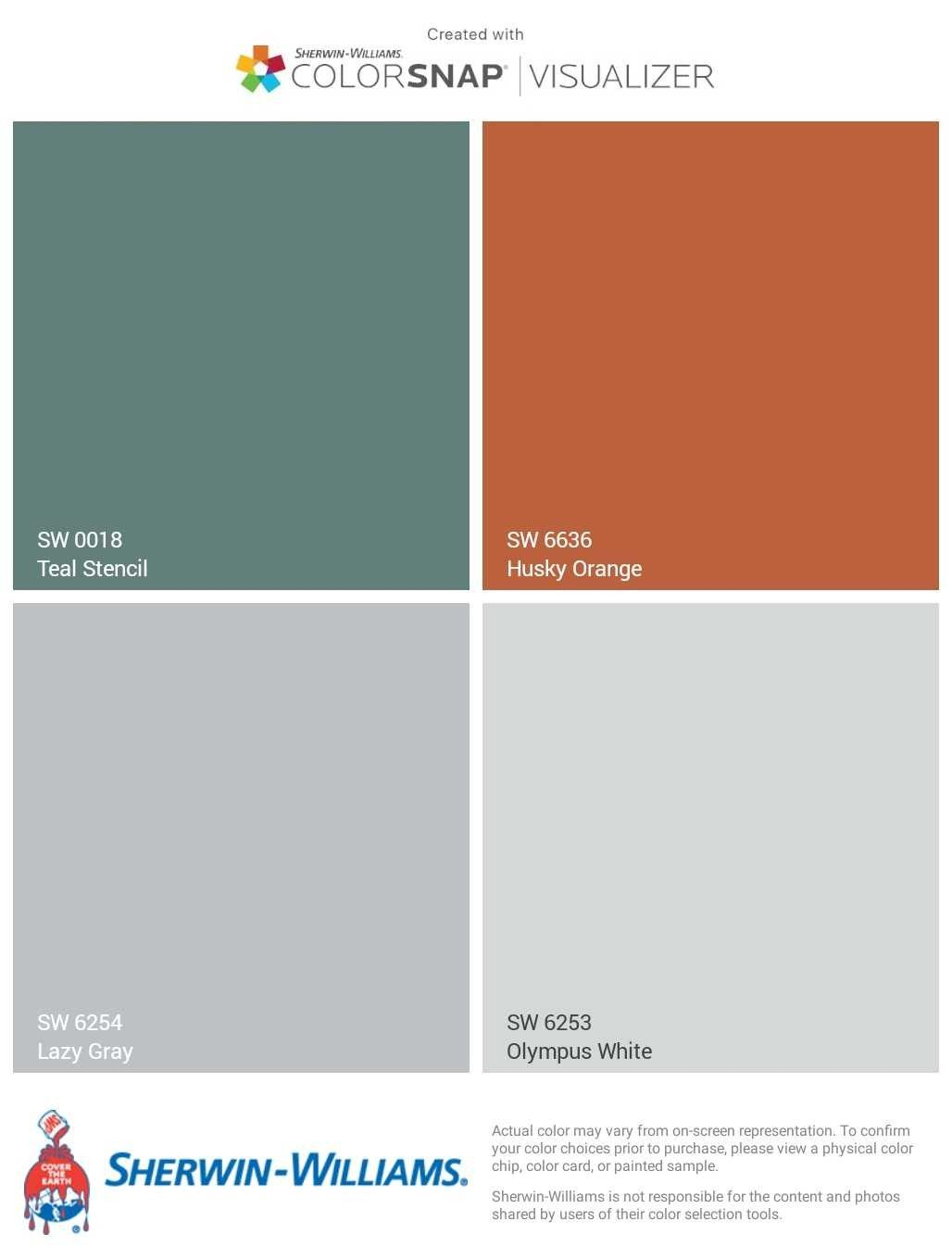 Teal Orange Gray Color Scheme Sherwin Williams Teal Stencil Husky Orange Lazy Gray Orange Paint Colors Bedroom Orange Living Room Orange