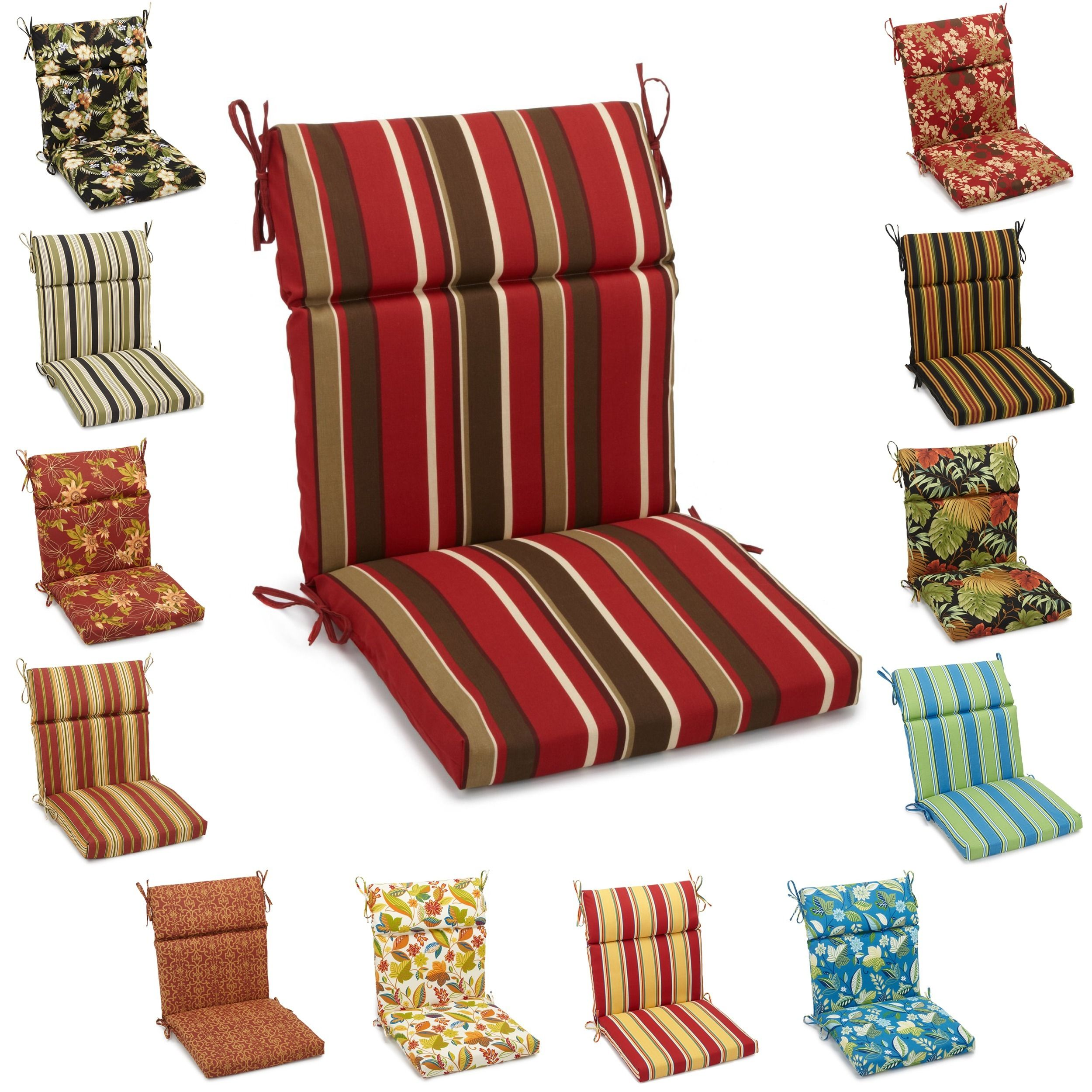 Blazing Needles 42 Inch By 20 Inch Patterned Outdoor Spun Poly Three Section Seat Back Chair Cu Outdoor Chair Cushions Indoor Outdoor Chair Lawn Chair Cushions