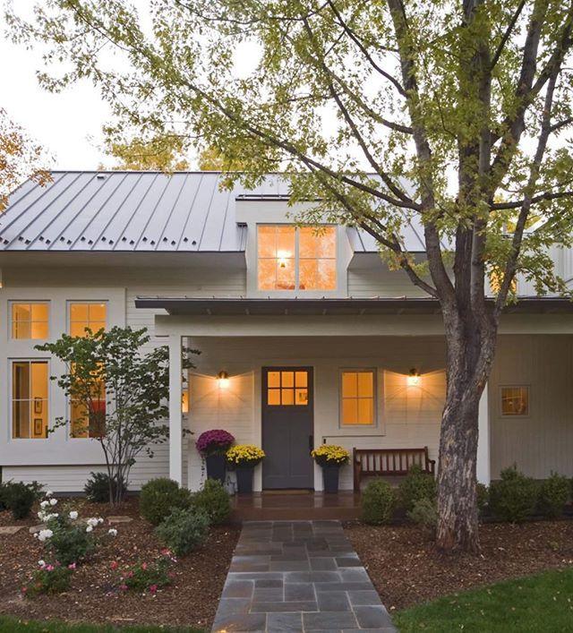 White Exterior Metal Roof Modern Farmhouse Look