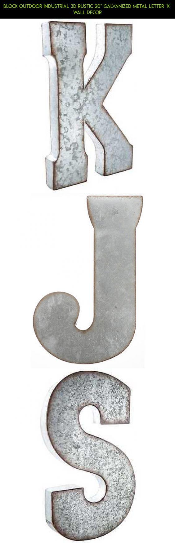 Block Outdoor Industrial 3d Rustic 20 Galvanized Metal Letter K