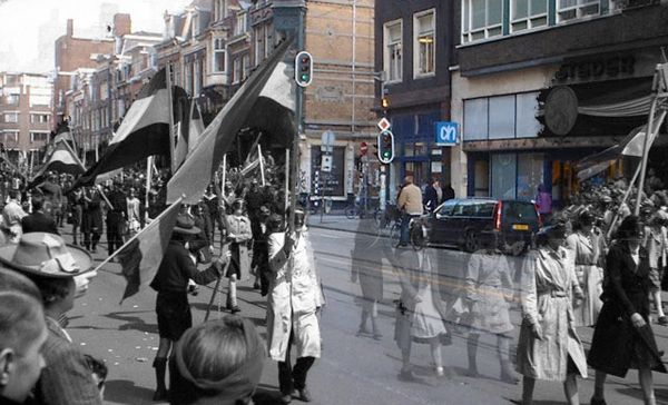 Crazy photos from WWII overlayed on modern photos of Amsterdam